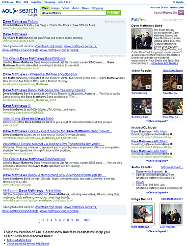 AOL FullView Template for Artist-related Search